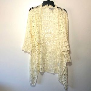 Tempo Paris crochet ivory cardigan size Large